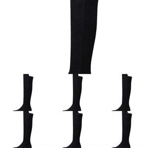 OdBHl Nouveau style sur l'automne et élastique sur le genou sur le genou sur le genou hiver noir en peluche bottes élastiques haute longues et minces femmes 5050