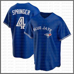 Toronto.AzulJAYS.Costume Baseball Jersey 4 George Springer 27 Vladimir Guerrero Jr. 11 George Bell 29 Joe Carter Preto