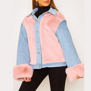 Winter Designer Jacket Fashion Plush Denim Panelled Long Sleeve Lapel 21FW Neck Loose Coat Womens Clothing