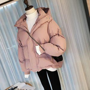 Chaqueta de invierno del otoño de las mujeres Parka flojo caliente de la capa gruesa de algodón hacia abajo Mujer de gran tamaño capucha de manga larga chaqueta de invierno de las mujeres T191128