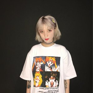Fashion Harajuku Stijl Meisje T shirt Sailor Moon Cartoon Print Leuke Interessante Kawaii Losse Vrouwen Casual Tops Tee Plus Size
