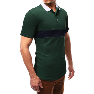 New Summer 2019 Chest Color Contrast Splicing Short Sleeve T-shirt Polo Men's Shirt