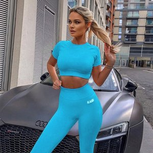 Summer Sport Set Women Blue Two 2 Piece Crop Top T-shirt High Waist Leggings Sportsuit Workout Outfit Fitness Gym Yoga Sets Y200904