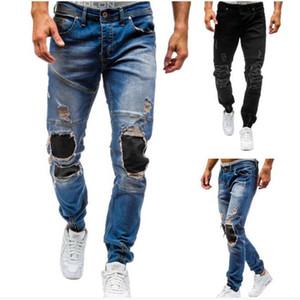 Moda Günlük Uzun Pantolon Pamuklu erkek Tide Jeans Denim Pantolon Gündelik Düz Jeans Erkekler Yıkama Bottoms Ripped