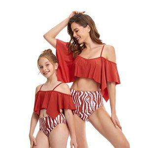 Hot Wholesale Padre-niño Traje de baño Bañador de hojaldle tassel que cubre el vientre dividir el chaleco de bikini estilo de la cintura alta de la cintura para adultos de la natación de los niños
