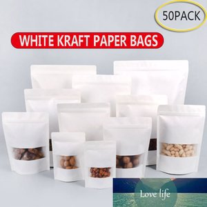 50pcs White Kraft Paper Bags Stand Up Zipper zip Lock Candy Tea Dried Fruit Gift Packaging Moisture-proof Open Window Pouch