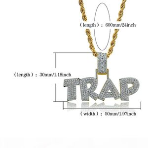 Letter TRAP Pendant Necklace For Men 2019 New Fashion Music Charm Hip Hop Jewelry Ice Out Bling Cubic Zirconia Hiphop Gold Necklaces