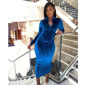 Frauen Mode-Kleidungs-Herbst-und Winter 2020 Der neue Eintrag Wear V-Ausschnitt Korean Velvet Langarm Kleid