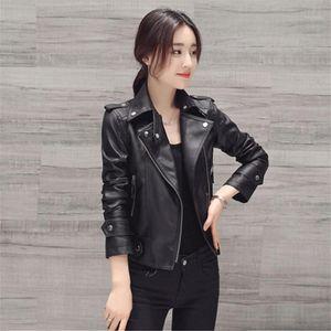 Lanlojer cremallera diseño motocicleta delgado pu chaqueta negra primavera otoño mujeres imaux suave cuero chaqueta de manga larga rosa biker coat 1