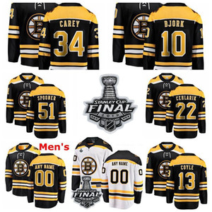 Boston Bruins maglie Anders Bjork Jersey Ryan Spooner Paul Carey Peter Cehlárik Nero Bianco ghiaccio hokey pullover su ordinazione cucita