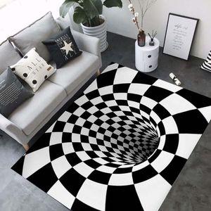 3D Carpets Luxury Geometry Optical Illusion Area Rugs Bathroom Living Room Floor Anti-Slip Mat Bedroom Bedside Carpet Decor