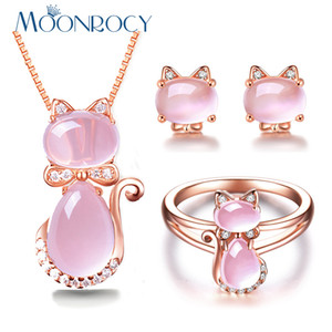 MOONROCY Rose Gold Color CZ Crystal Ross Quartz Pink Opal Necklace Earrings and Ring Jewelry Set for Cute Cat Jewelry Women 201222