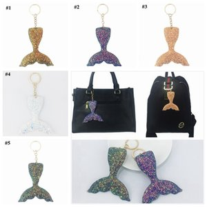 Mermaid Tail Sequin Keychains Reflective Light Key Buckle Flash Drilling Keyring Female Bag Pendant Creative Colorful LJJZ323