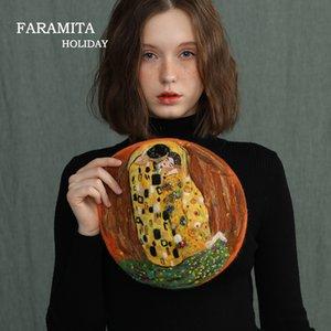 Faramita Holiday Womans Handmade Happy Maints Gustav Klimt Kiss Знаменитые картины Шерсть 100% Весна Девушки Мальчики Дети Шляпа Винтаж LJ201105