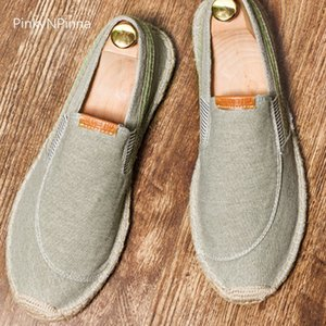 vintage men's casual canvas loafers flat hemp bottom Espadrilles driving soft shoes for holiday beach sailing Bohemian style 201012