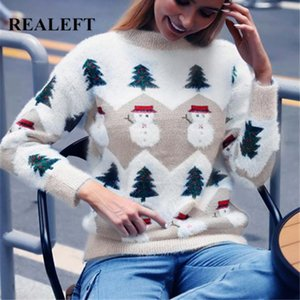 REALEFT New 2020 Arbre Automne Hiver Femmes Noël Impression Tricot Chic Pull-overs Pull à manches longues Femme Tricots
