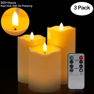 3Pcs Set Remote Control LED Flameless Candle Lights New Year Candles Battery Powered Led Tea Lights Easter Candle With Packaging