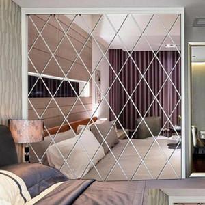 diamond pattern mirror wall sticker diy living room decor 3d mirror wall stickers home decoration crafts diy accessory y200102