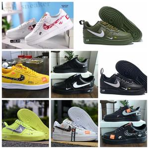 NIKE Air Force one 1 AF1 2019 Uomini Donne Low Cut uno 1 Scarpe Bianco Nero Dunk Skateboarding Shoes Classic AF1 mosca formatori progettista alta maglia Sneakers WR06