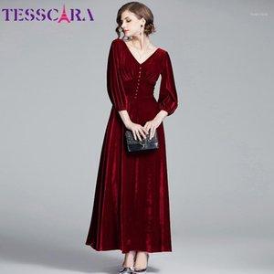 Tesscara mujeres otoño invierno elegante terciopelo vestido femenino largo maxi partido bata de alta calidad v-cuello diseñador vintage vestidos1