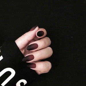 Matte Gradual Negro y Rojo Color Puro Falso Nails Gótico Medio Tamaño largo Lafy Consejos de uñas Completos Lindos Decoradas Falsas Nails Nails Design O2PR #