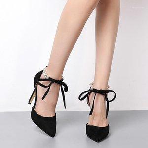 Scarpe Donna Tacchi alti Pizzo Up Perline Pompe Sexy Pointed Toe Black Caviglia Sandals Sandali da donna Party Wedding Stilotto Shoes1