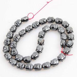Piedra natural 9 * 10 mm hematita No-magnético Bright Buddha Head Energy Bead Jewelry Fabricación de bricolaje Pulsera Collar Accesorios1