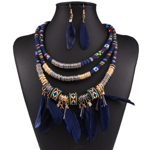 fashion feather pendant rope ethnic necklace multi-layer tassel necklace and earrings woman jewelry set