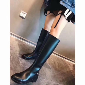 [Original Box] Luxury New Womens Winter Snow Knee Boots Silver Buckle Chain Motorcycle Knight Shoes Black Size 35-40