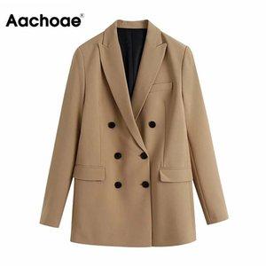 Aachoae Casual Çift Breasted Haki Blazer Kadınlar Çentikli Boyun Lady Şık Coat Uzun Kollu Ofisi Dış Giyim Sonbahar Spring Tops