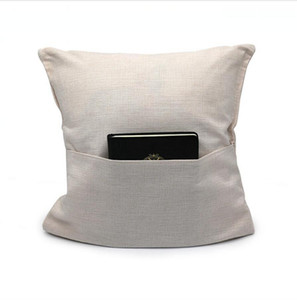 40*40cm Sublimation Blank Pillow Case With Pocket Linen Solid Color Pillow Cover DIY Cushion Cover Pillows Cases SEA SHIPPING LJJP720
