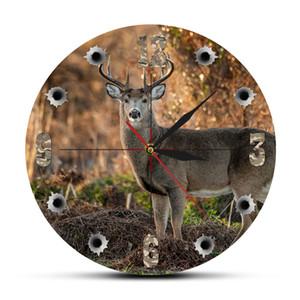 Articoli da regalo Orologio da parete Orologio da parete Deer Hunter Camera Sniper Big Buck rotonda Caccia Decor Wildlife Animal Art Elk Cabin Deer caccia