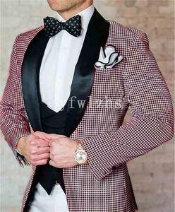 Classic One Button Handsome Groomsmen Shawl Lapel Groom Tuxedos Men Suits Wedding Prom Best Man Blazer ( Jacket+Pants+Vest+Tie) W617