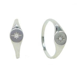 Color plateado CZ Star Star Anillo Europeo Mujeres Señoras Simple Delicado Moon Star Jewelry 2020 Drop Shipping Factory Cheap CZ Ring1