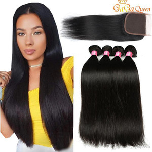 Gagaqueen Brazilian Straight Hair Bundles With Closure 3 Bundles Human Hair Extensions 4x4 Lace Closure With Brazilian Straight Hair