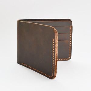 crazy horse male vintage slim money luxury designer short purse handmade high quality men Multi-Card Bit wallet