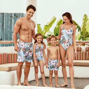 2020 New Summer Floral Print Matching Light Blue Family Look