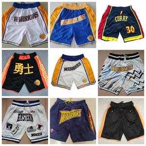 Hommesd'orEtatWarriors Just Don, shorts de basket-ball finement brodés, courts métrages de basket-ball de poche zippées brodées serrées