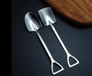 Dessert Spoon Stainless Steel Spade Shovel Spoon Creative Cute Internet Eating Coffee Spoon Stirring Ice Scoop 7798