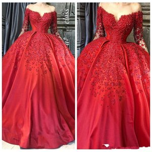2021 Red Prom Dresses Off the Shoulder Long Sleeves Luxury Crystals Beaded Satin Appliqued Custom Made Evening Party Ball Gown
