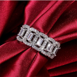2021 New Arrival Sparkling Luxury Jewelry 925 Sterling Silver Princess Cut White Topaz CZ Diamond Gemstones Women Wedding Band Ring Gift