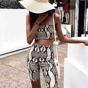 Womens Ladies Summer 2019 Casual Fashion Snakeskin Tube Top Shorts Bodycon Two Piece Set Outfits Short Sport Jumpsuit Sets