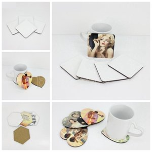DIY Sublimation Blank Coaster Wooden Cork Cup Pad MDF Promotion Love Round Flower Shaped Cup Mat Advertising Party Favor Gift DHL