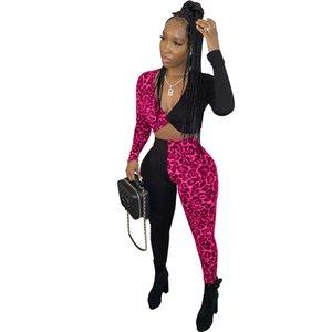 Sexy Womens Vneck Womens Two Piece Set Moda Painéis duas peças Pants Leopard Impresso Womens Clothing Designer