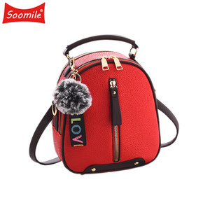 Soomile 3in1 Red Fashion Women Backpack Leather Youth Woman Backpacks Small Bagpack for teenage Girls mochila 2020 New Q1113