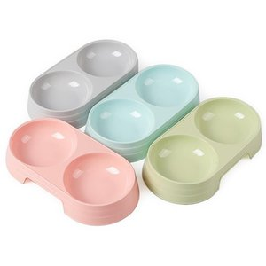 1pc Candy Color Plastic Pet Double Bowls Creative Pet Water Feeder Dog Cat Bowl Feeding Supplies Random Color