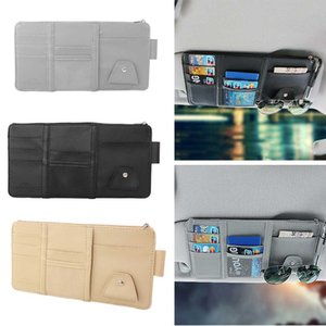 Car Sun Visor Pen Business Card Holder CD DVD Organizer Multifunction Storage Box Sunglasses Clip Stowing Tidying Car Tool