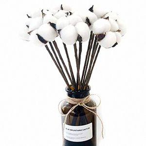10 Cotton artificiale pacchetto Boll filo di ferro staminali fai da te fiori Puntelli casa Matrimonio hotel decorazione del partito Circa 13 pollici ad alta aDQS #