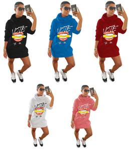 Falda con capucha Sudadera engrosada Sudadera Líparo Votar letra Imprimir Invierno Mujeres Suéter Vestido Faldas calientes Oversize Vestidos generales Pullover Nuevo D102606