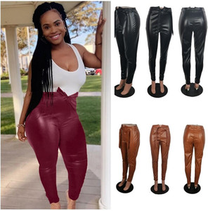 PU Leather Pants High Waist Leggings Tights for Women Ladies Fashion Skinny Trouses Back Zipper Pants Black Burgundy Coffee Bowknots F92904